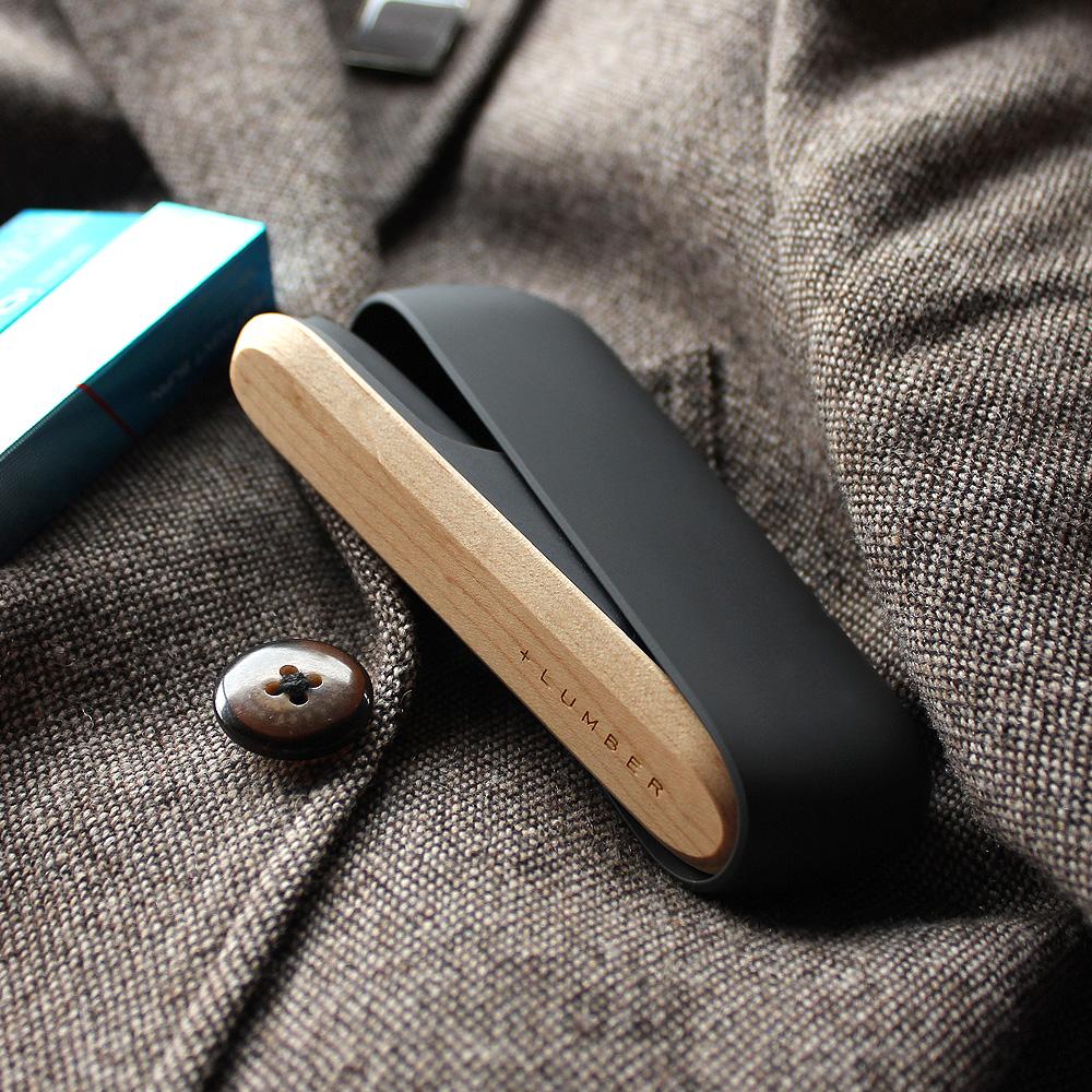 IQOS3用木製ドアカバー ブラック×メープル