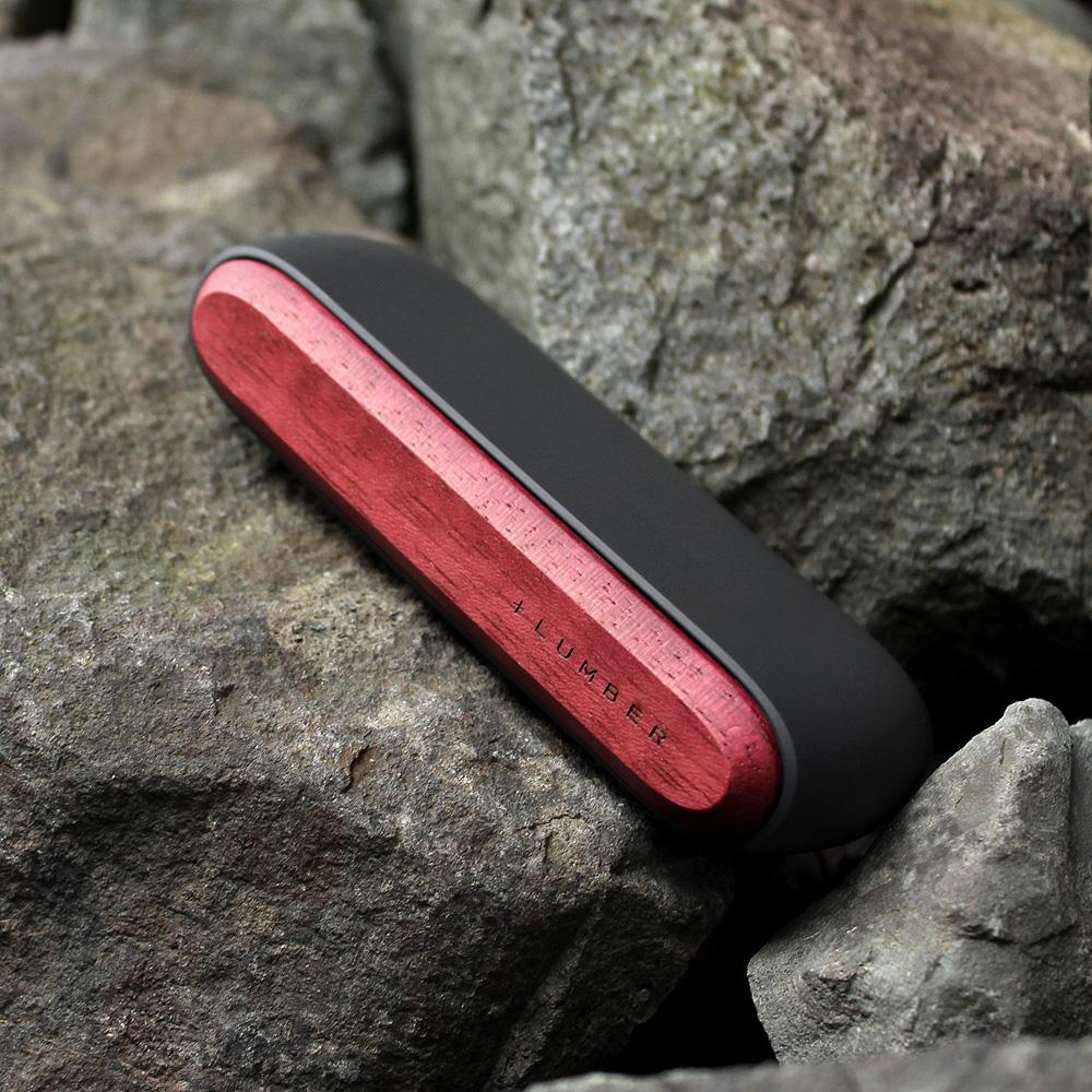 IQOS3用木製ドアカバー ブラック×パープルハート