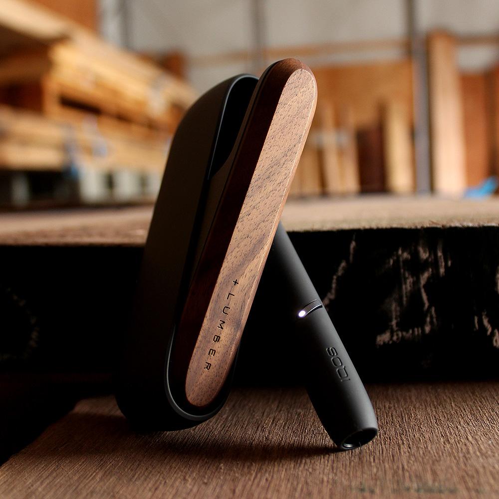 IQOS3用木製ドアカバー ブラック×ウォールナット