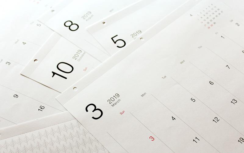厳選したフォントを使い洗練されたデザインのカレンダー