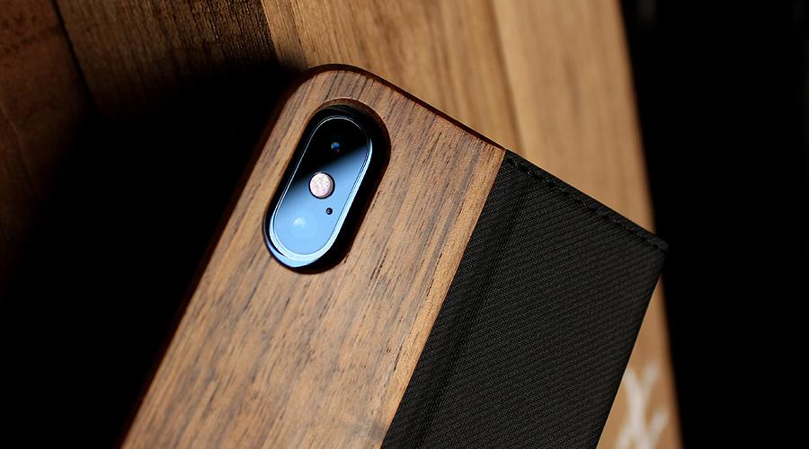 iPhone XS Max用 手帳型木製アイフォンケース