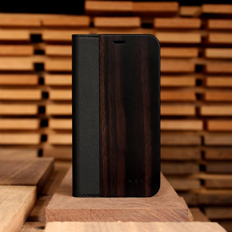 手帳型木製アイフォンケース、iPhone XR用フリップケース(黒檀)