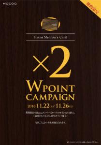 【Wポイントキャンペーン】11月22日(金)~11月26日(月)