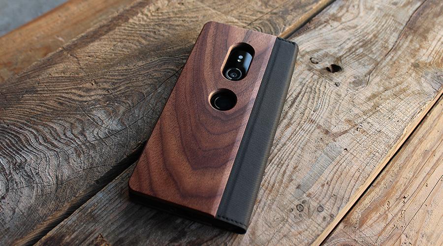 手帳型の木製ケース Xperia XZ3専用フリップケース