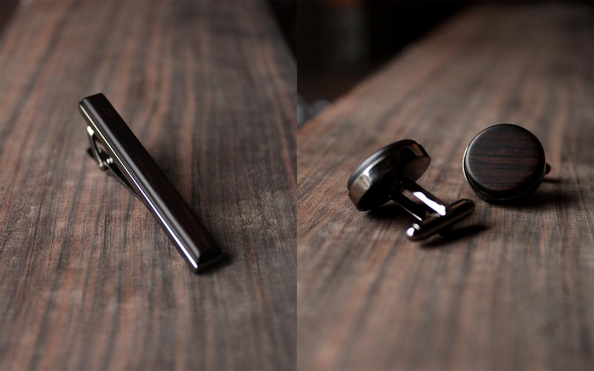 木製ネクタイピン&カフスに黒檀が追加