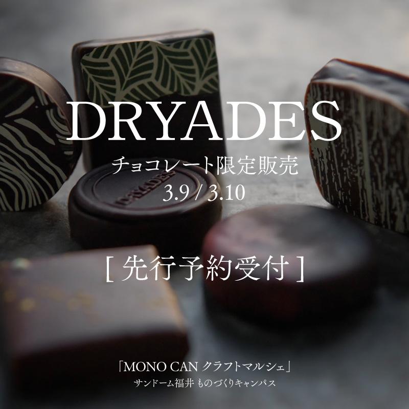DRYADES チョコレート 先行予約受付