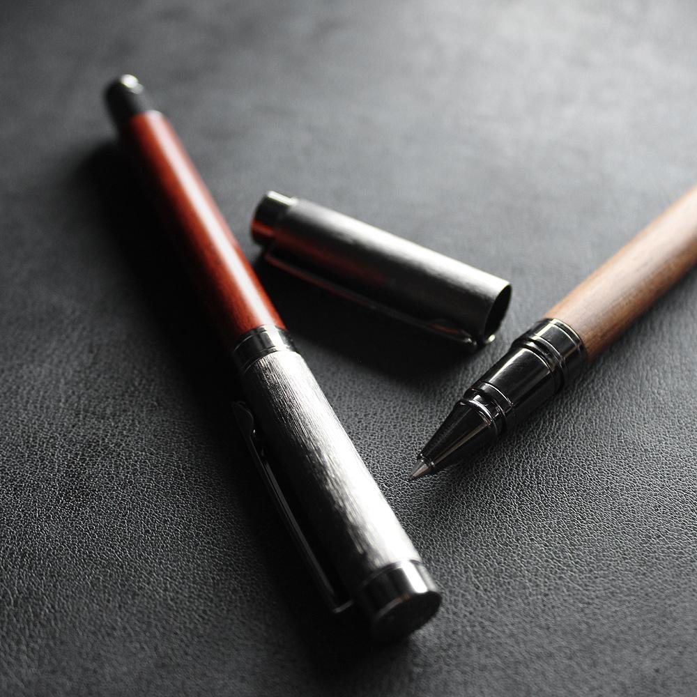 【名入れ可能】丸型木製ボールペン/木軸ペン