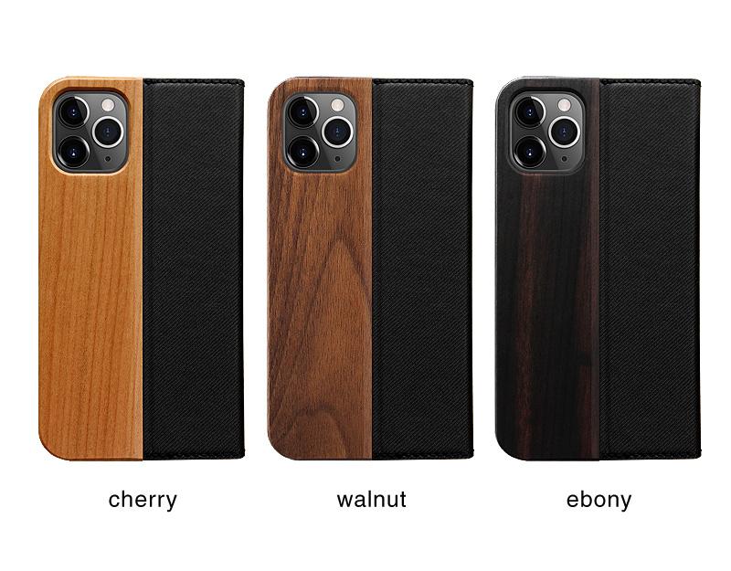 手帳型の木製アイフォンケース、iPhone 11用木製ケース