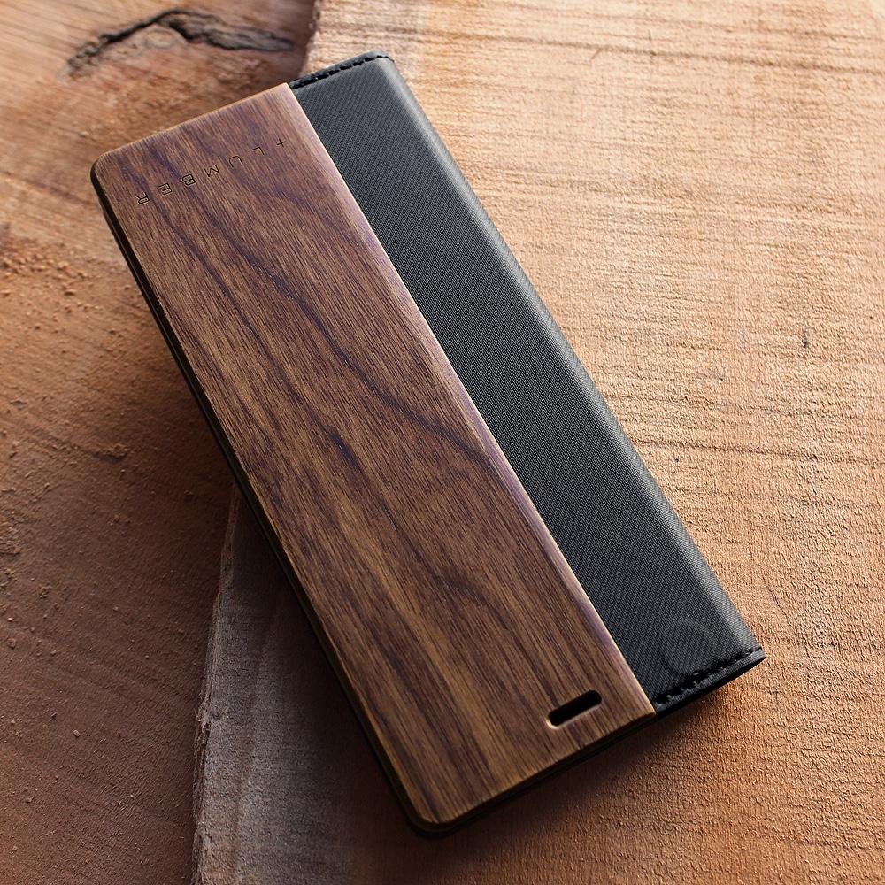 手帳型の木製スマートフォンケース Xperia 5専用フリップケース