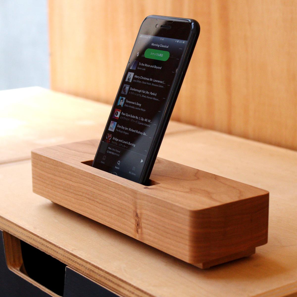 【スマートフォン専用】重厚感あふれるシンプルな木製スピーカースタンド「Wooden Speaker Brick」-チェリー