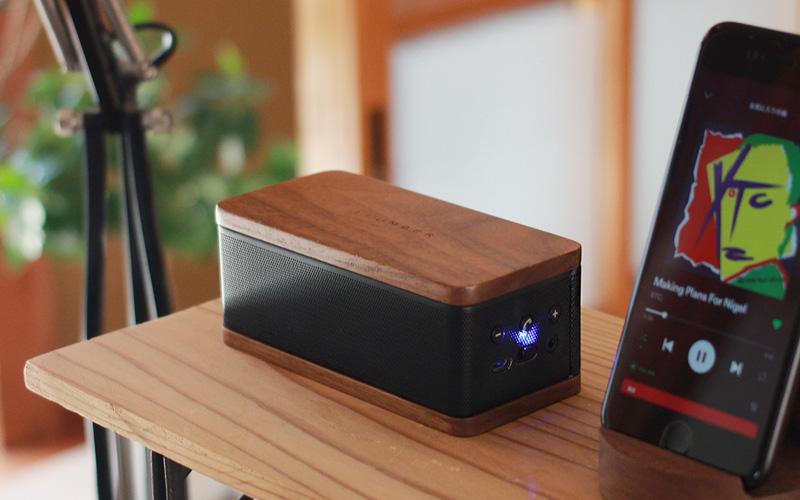 「MOBILE SPEAKER」Bluetoothでスマホと接続可能 木目が美しいスピーカー